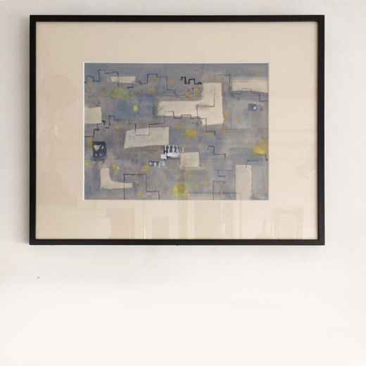 冨成忠夫、水彩画、夜の街、写真家、1980年代、モダンアート、抽象画