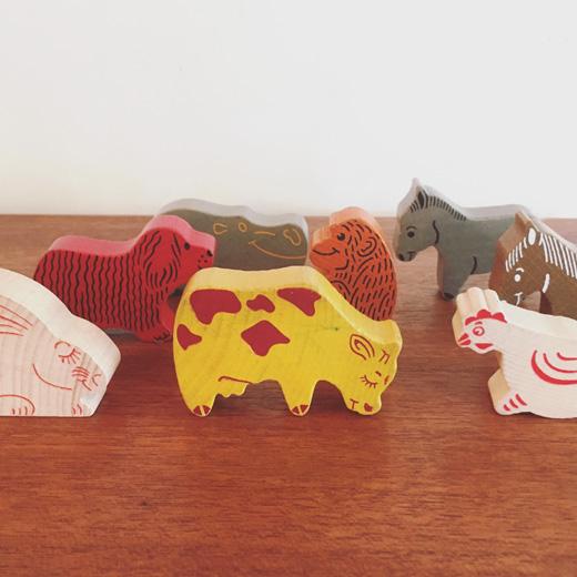ウッドクラフト、木のおもちゃ、動物、ヴィンテージ、ウッドアニマル