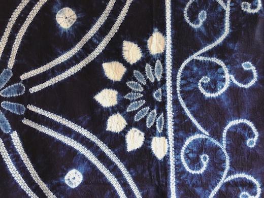 藍染め、絞り染め、テーブルクロス、古布、ヴィンテージファブリック