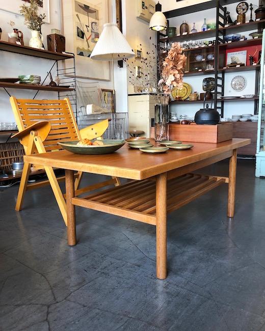 ヴィンテージ家具、秋田木工、コーヒーテーブル、ジャパニーズモダン、チーク材、オーク無垢