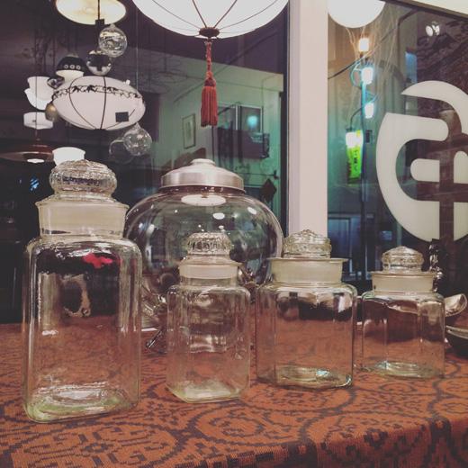 古いガラス瓶、保存瓶、ガラスキャニスター、地球瓶、アンティークガラス、日本製、梅酒瓶