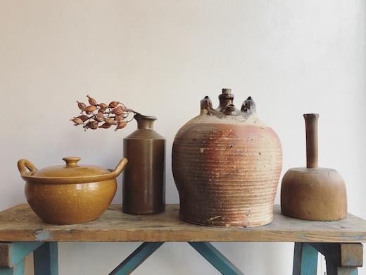 アンティーク雑貨、古道具、ブロカント、古陶磁、インクボトル、油壺、土鍋、砧