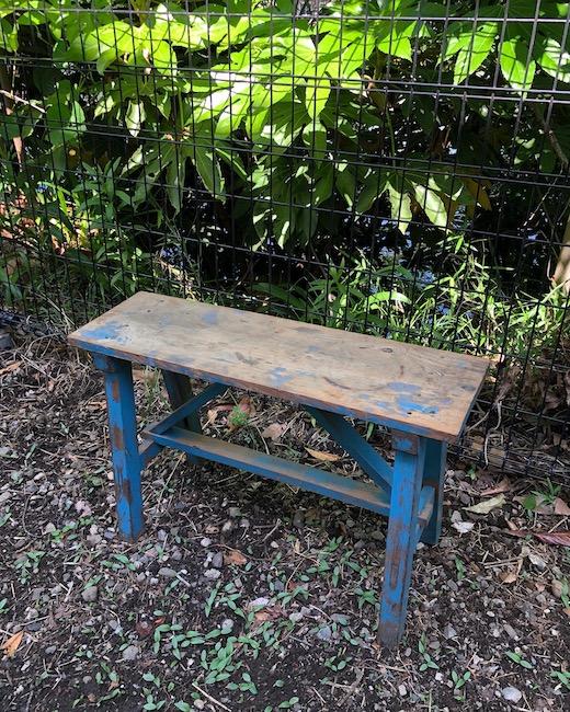 古道具、木製ベンチ、スツール、経年変化、味わい