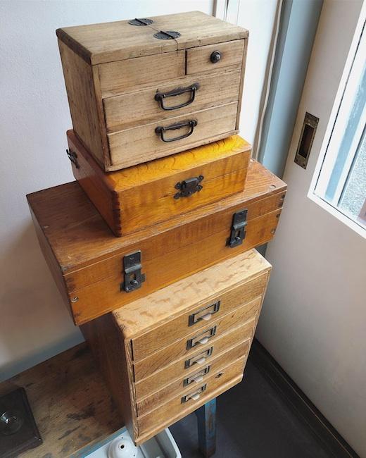 木箱、古道具、針箱、裁縫箱、小引き出し、収納、アンティーク