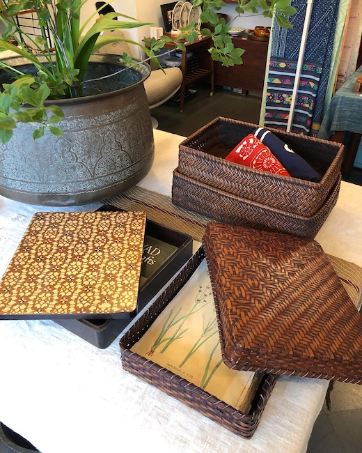 古道具、文庫、文箱、行李、収納箱、バスケット、竹かご