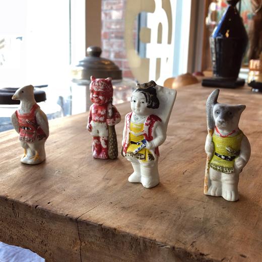 戦前、射的人形、陶器人形、桃太郎、アンティーク、お祭り、玩具