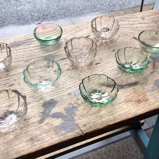 ガラス菓子型、アンティーク、戦前ガラス、鼓型ビアグラス、大正ロマン、古道具