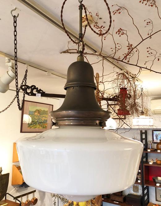 戦前、アンティークペンダントランプ、乳白ガラス、洋館ランプ、照明