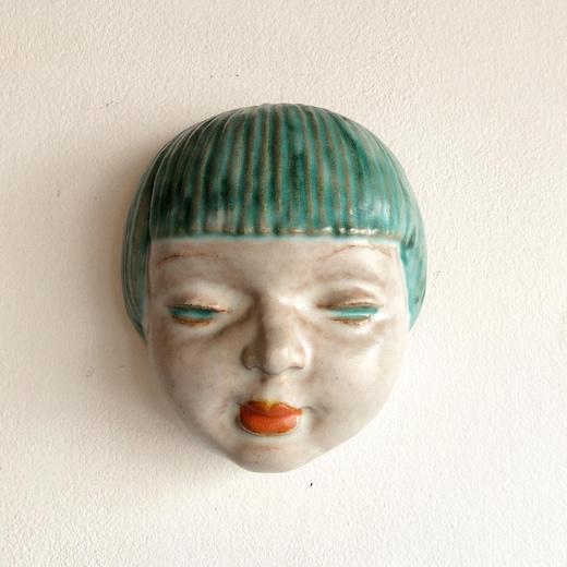 1930年代、アール・デコ、コレクション、顔の壁掛け、ウォールデコレーション、モガ、フラッパー、おかっぱ、ボブ、アートコレクション、rudolfknorlein、artdecowallmask