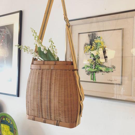 魚籠、竹かごバッグ、竹籠、花籠、工芸、クラフト、ヴィンテージ、古道具、ショルダーバスケット
