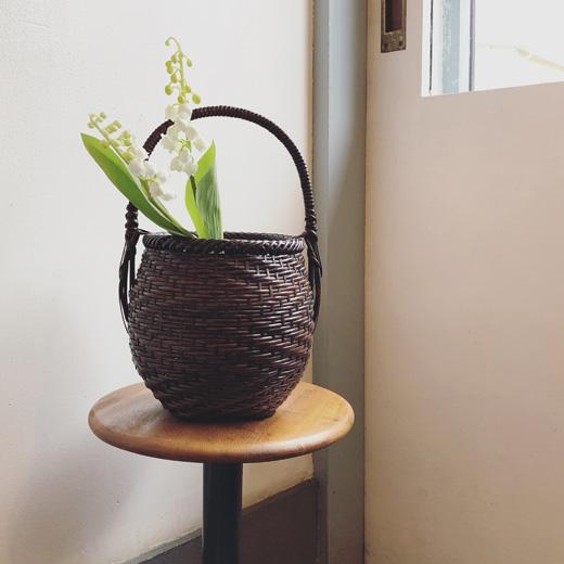 竹かご、竹花入れ、花籠、竹工芸、ヴィンテージ、モダンクラフト、和モダン、かごバッグ、ヴィンテージバスケット