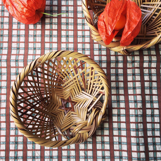 竹ざる、竹かご、竹工芸、クラフト、ヴィンテージ、おつまみざる、モダン