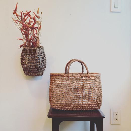 ヴィンテージバスケット、柳行李トランク、秋のしつらえbasket.natural.autumnstyle