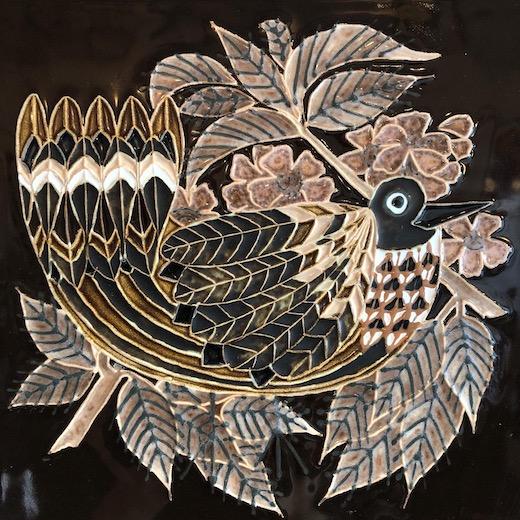 イギリスヴィンテージ、陶板、壁掛け、鳥デザイン、ヴィンテージ雑貨、タイル、モダン