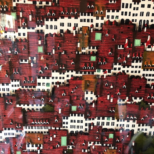 版画作品、中世ヨーロッパ、赤い屋根、額装品、モダンアート