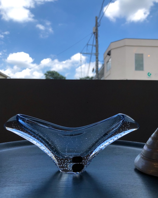 ボヘミアガラス、ガラス器、花器、チェコスロバキア、モダン、工芸
