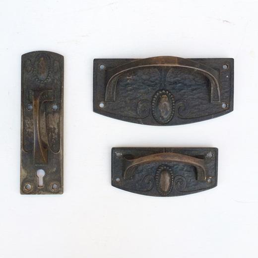 アンティーク建具、取っ手、ハンドル、真鍮製、アールデコ、金具