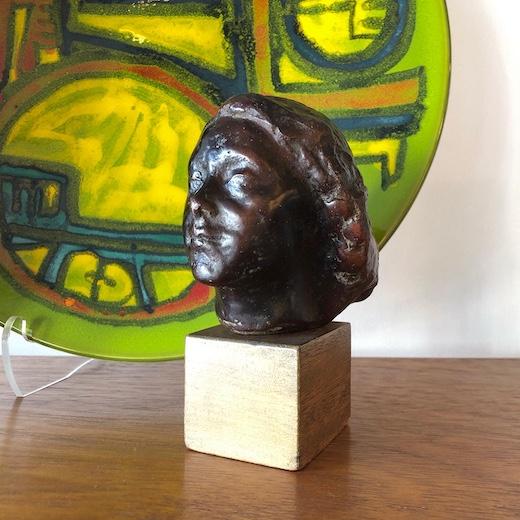 ブロンズ像、女の顔、加藤顕清、1960、彫刻作品、女性像、アート