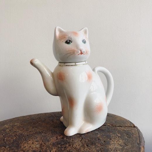 ヴィンテージ、茶器、中国陶器、ティーポット、猫型、ねこ、土産物