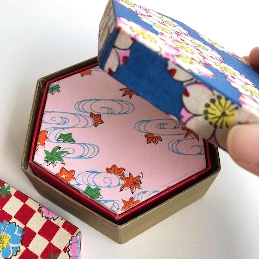 千代紙、六角五重箱、入れ子箱、折り紙、民芸、ヴィンテージ