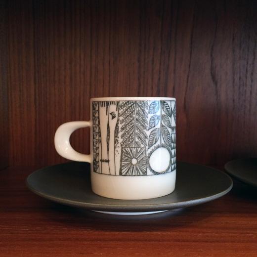 知山陶苑、カップ&ソーサー、コーヒーカップ、ヴィンテージ、ジャパニーズモダン、レトロモダン、知山窯