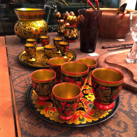 ロシア雑貨、ヴィンテージ、ホフロマ塗り、漆器、ロシア土産、クリスマス食器、ロシアンクリスマス、ヴィンテージ雑貨