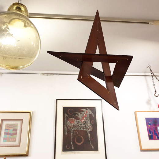 木製三角定規、古道具、ヴィンテージ文房具、スターオーナメント、クリスマスオーナメント