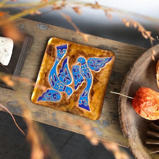 七宝焼、絵皿、青い鳥、飾り皿、ヴィンテージ、金工、工芸