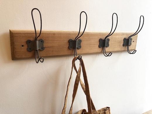 古道具、ウォールハンガー、コートハンガー、フック、玄関先に、ナチュラル、ヴィンテージ、木製