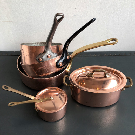 銅鍋、ソースパン、片手鍋、ブロカント、フレンチ、銅磨き