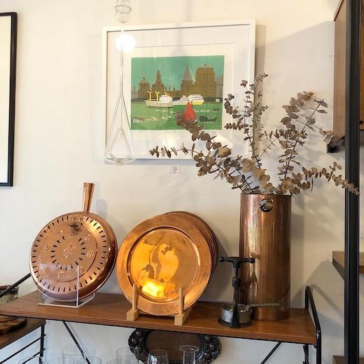銅器、真鍮、花器、ベッドウォーマー、銅鍋、アンティーク