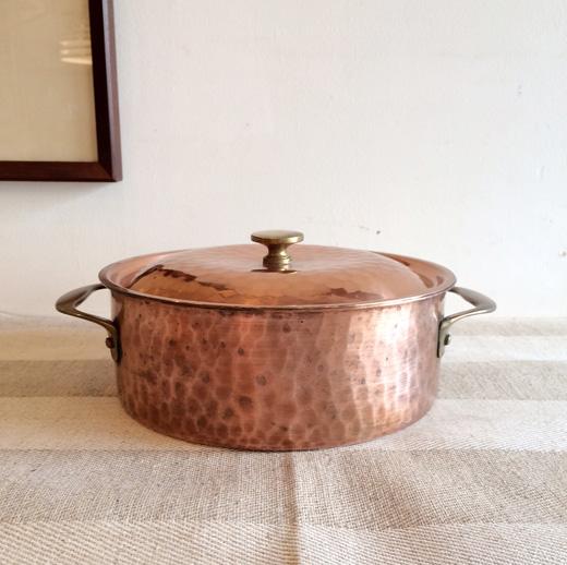 シチュー鍋、銅鍋、ヴィンテージ、スイス製