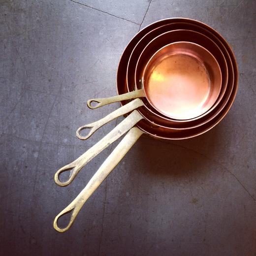 銅鍋、ヴィンテージ、ソースパン、ミルクパン、コッパーウェア