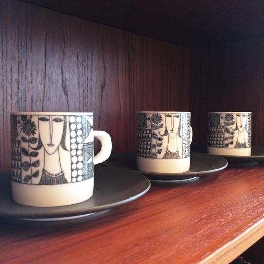 知山陶苑、カップ&ソーサー、コーヒーカップ、ヴィンテージ、ジャパニーズモダン、レトロモダン