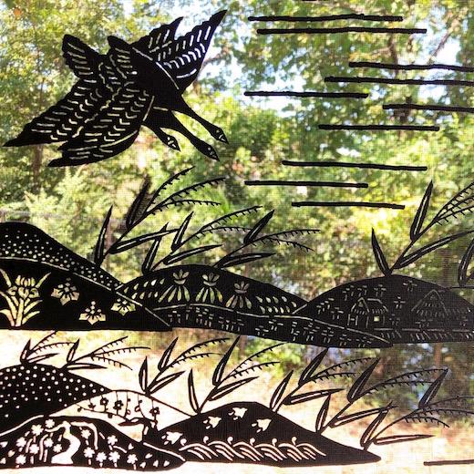 ヴンテージ、伊勢型紙、切り絵、アート、和モダン、渡り鳥、季節のしつらえ、秋の情景