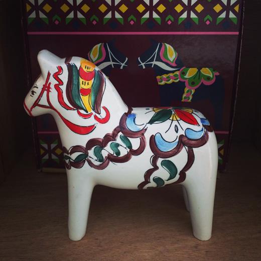 ダーラナホース、幸運、招福、白馬、北欧ヴィンテージ