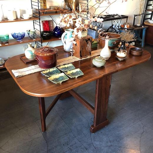 ドロップリーフテーブル、民芸家具、チークテーブル、ダイニングテーブル、モダン、ヴィンテージ