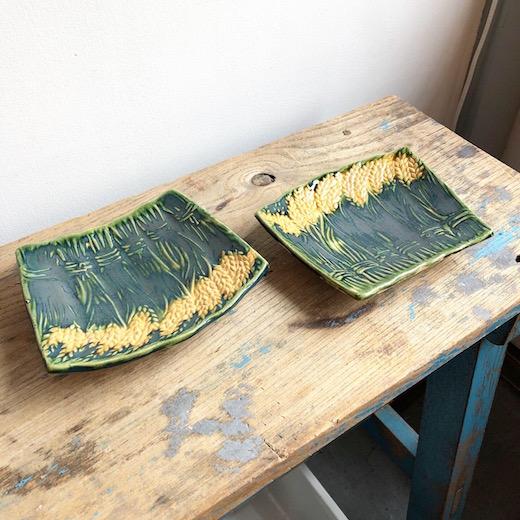 織部焼、小皿、小付、稲穂、米俵、三つ足、和食器、ヴィンテージ