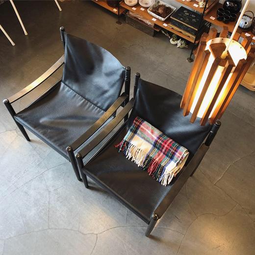 北欧ヴィンテージ、デンマーク家具、イージーチェア、黒レザー、ブラック、ヴィンテージ、モダンデザイン