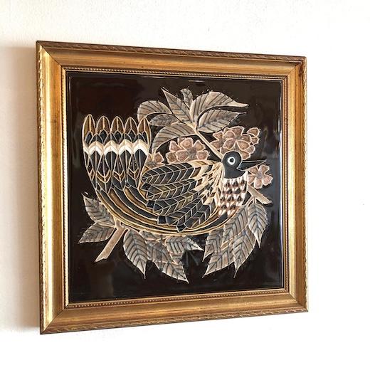 イギリスヴィンテージ、陶板、壁掛け、鳥デザイン、ヴィンテージ雑貨、アート