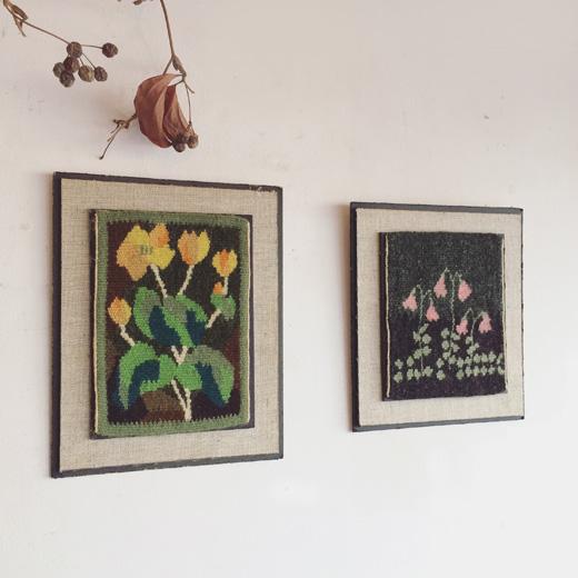 フレミッシュ織、タペストリー、北欧ヴィンテージ、絵織物、ハンドクラフト、春、フラワーモチーフ