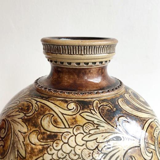 イギリスアンティーク、陶器、花器、マーティンブラザーズ、martinbrothers、コレクション、1889年、フラワーベース