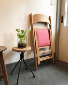 ヴィンテージチェア、折りたたみ椅子、飛騨産業、フォールディングチェア、張替済み、ナチュラルモダン