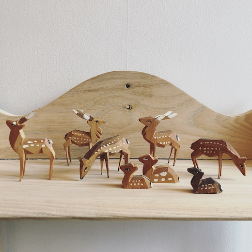 郷土玩具、木彫り、こけし、民芸品、鹿、奈良公園の鹿、土産物、ヴィンテージ雑貨