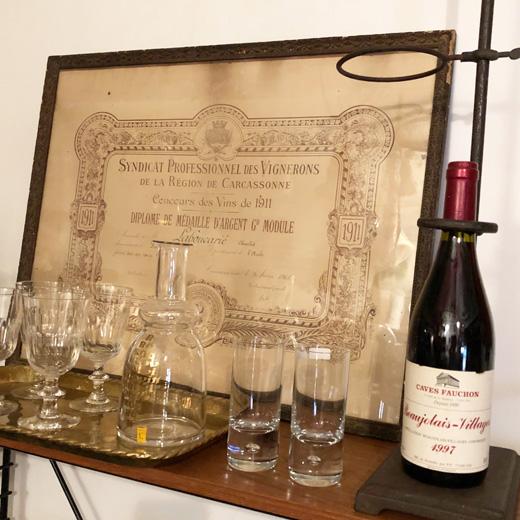 フランスワイン、ワイン雑貨、銀メダル、カルカソンヌ、額装品、賞状、紙ものコレクション