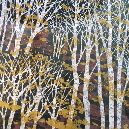 藤田不美夫、木版画、秋色A、白樺林、1978、ヴィンテージ