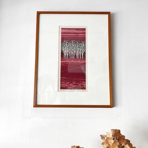 版画、藤田不美夫、白樺、白い林、1984、額装