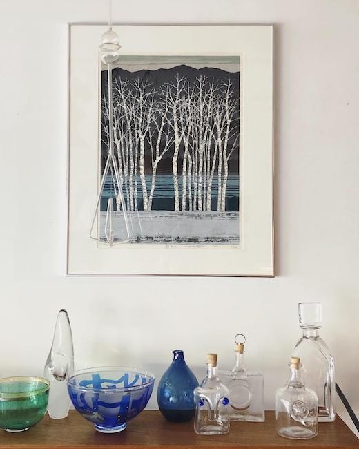 藤田不美夫、木版画、1987年、朝明け、冬景色、雪景色、額装品