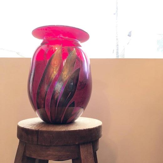紅、ラスター彩、ガラス工芸、花瓶、花器、モダン、ヴィンテージ