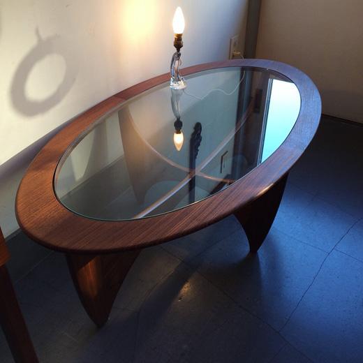 ジープラン、ガラストップコーヒーテーブル、イギリス製、ヴィンテージ、北欧デザイン、イプコフォードラーセン